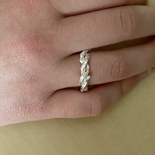 Organic Silver Band Ring-Entwined Forest Twig Ring-Alternative Wedding Ring