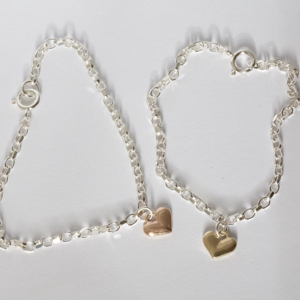 Silver Bracelet with 9ct Gold Love Heart
