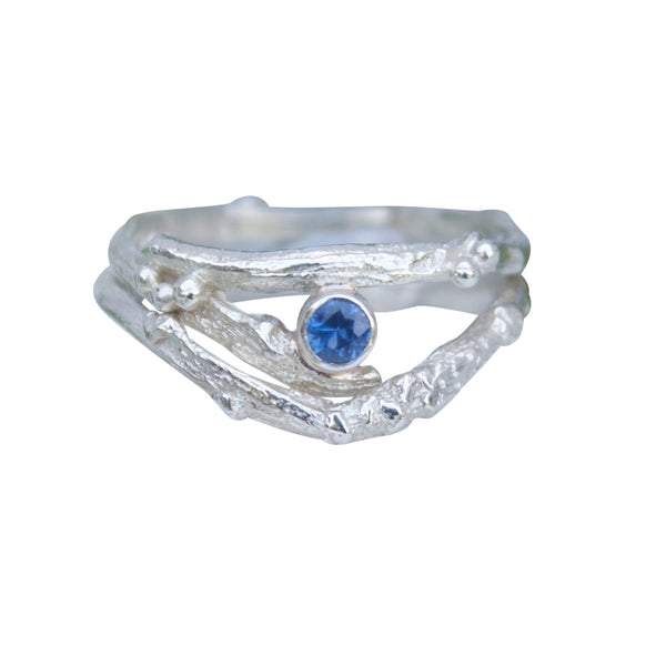 White Gold and Sapphire Twig Engagement Ring Set