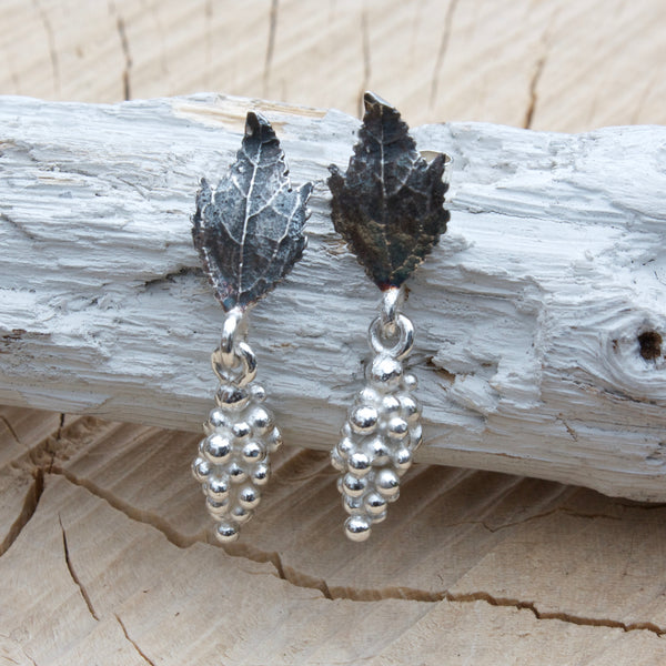 Woodland Elvish Silver Leaf and Berry Earrings