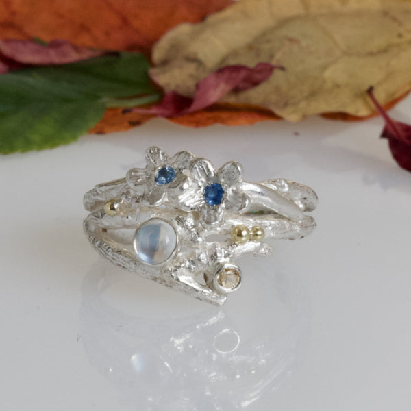 Enchanted Wood Forget Me Not Cluster Ring-Elvish Sapphire and Moonstone Ring
