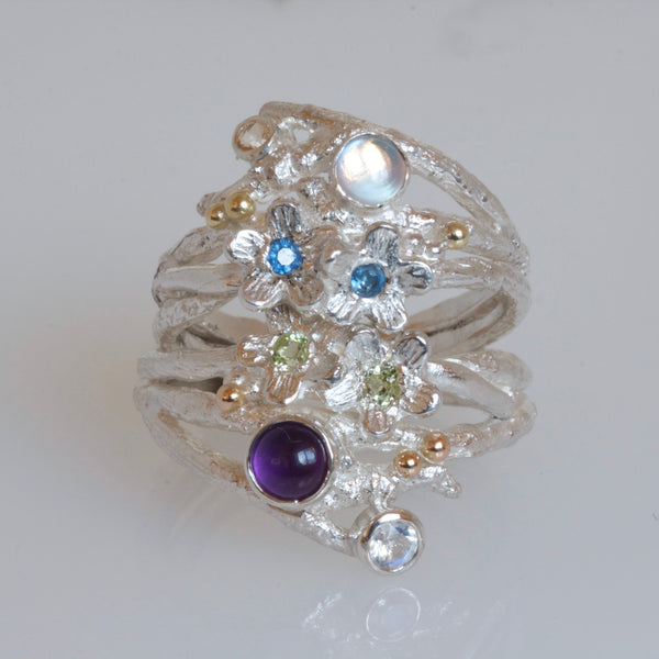 Enchanted Wood Amethyst Silver Cluster Ring-Elvish Flower Twig Ring-Wide Silver Ring