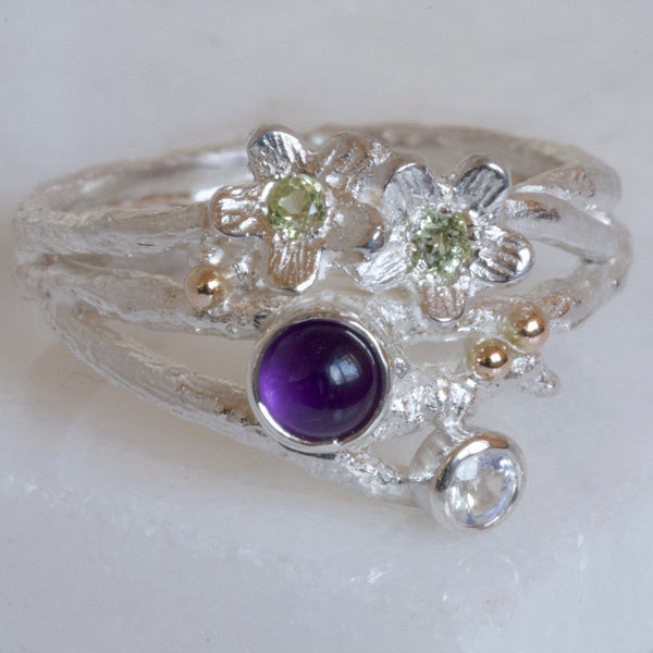 Enchanted Wood Amethyst Cluster Twig Ring