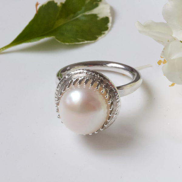 Large Pearl Ring-Pearl Cocktail Ring-Pearl Engagement Ring-June Birthstone