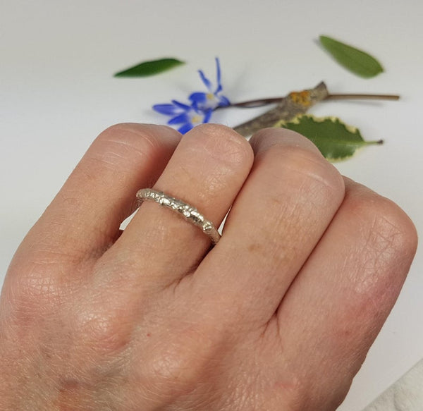 Plain Silver Twig Ring, Woodland Twig Wedding Band, Unisex Rustic Wedding Ring