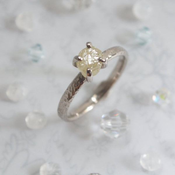Raw Diamond Engagement Ring-Raw Diamond Ring-uncut diamond ring-rough diamond engagement ring-grey rough diamond-gray diamond ring