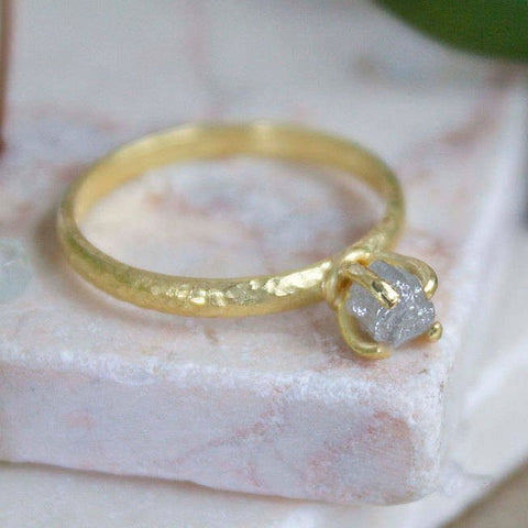 Raw uncut rough diamond 18ct gold engagement ring