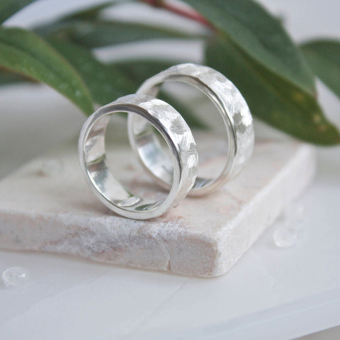 Silver Textured Unisex Band Rings