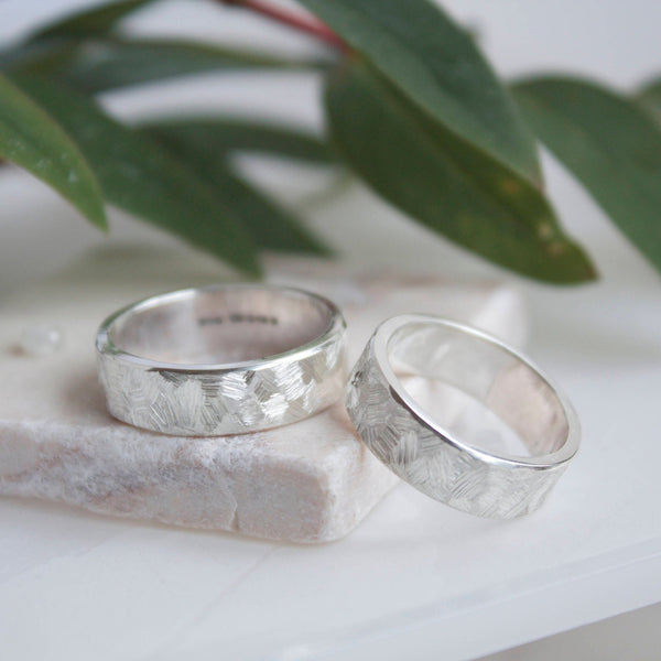 Textured Silver Wedding Ring-Unisex Silver Ring-6mm flat wedding ring-silver thumb ring