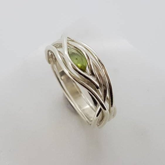 Handmade Entwined Gold Ring-Unique Ring-Entwined Ring-Tourmaline Ring