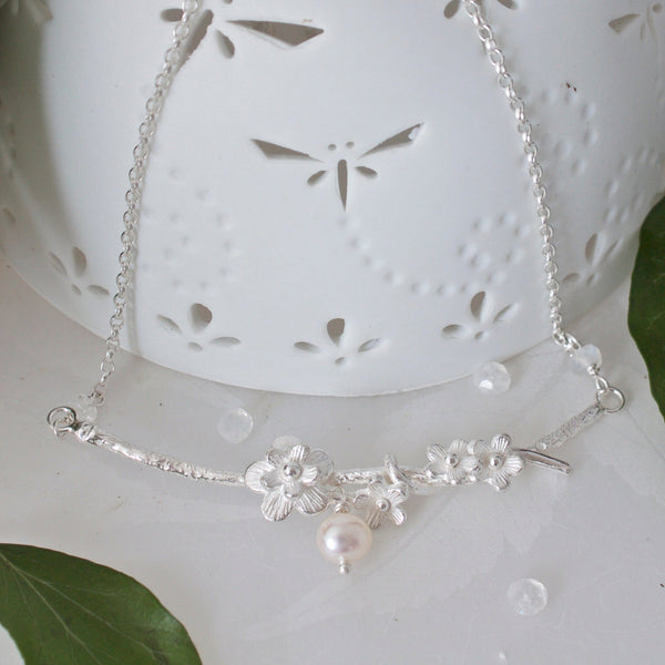 silver bridal necklace, silver and pearl cherry blossom necklace