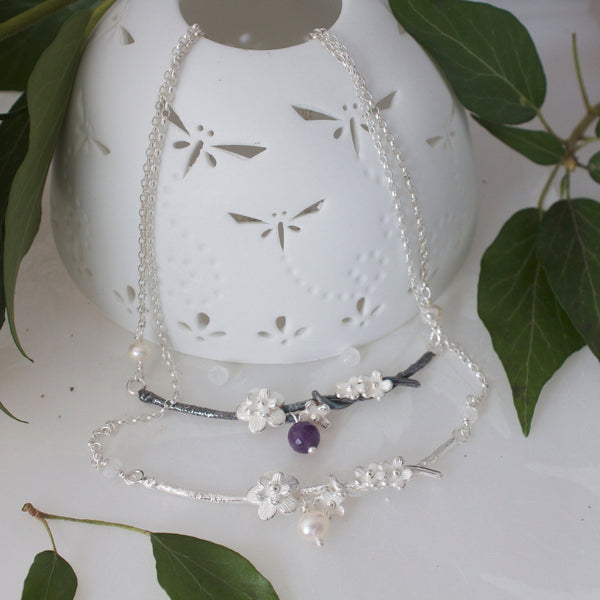 Cherry Blossom Necklace, Silver, Pearl and Moonstone Bridal Necklace