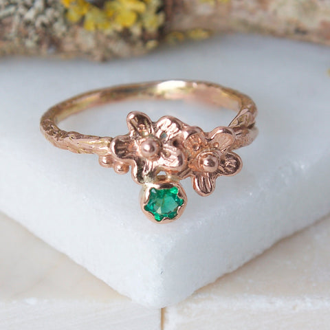 rose gold and Emerald forget me not ring, botanical ring, flower engagement ring