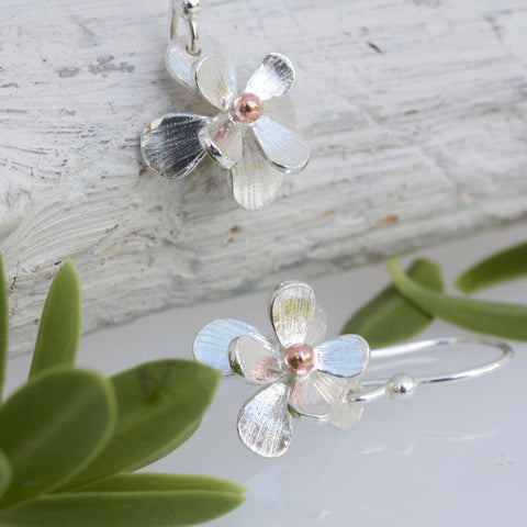 Silver and Rose Gold Flower Earrings-Floral Earrings-Daisy Earrings-Gifts for her-Mothers day Gift-Botanical Earrings