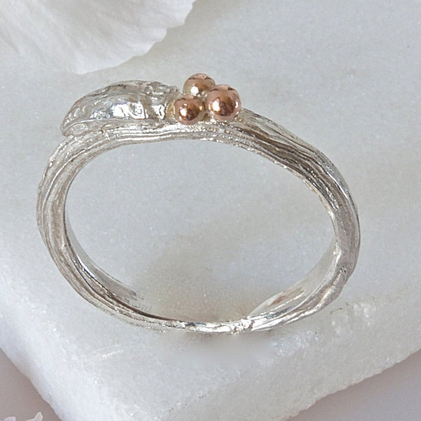 Silver and Rose Gold Willow Twig Wedding Ring, Rustic Wedding Ring, Unique Rustic Wedding Ring