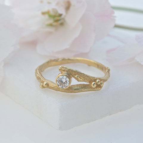 18ct gold and diamond twig and berry ring, Gold Elvish Engagement Ring