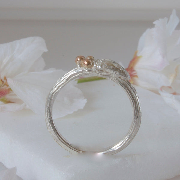 Silver and Rose Gold Willow Twig Wedding Ring, Rustic Wedding Ring, silver and rose pink gold wedding ring, Unique Wedding Ring, Rustic Ring