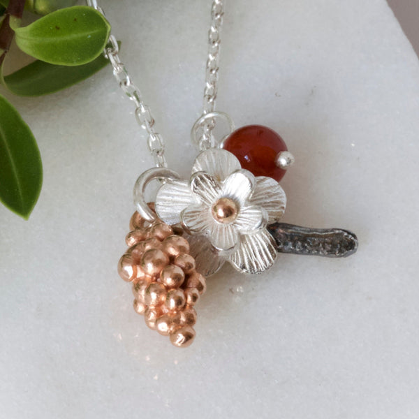 Autumn and Spring Woodland Cluster Charm Necklace, Flower and Leaf Necklace