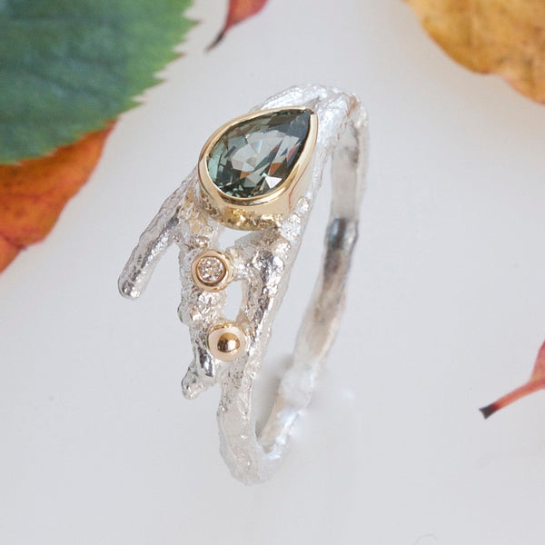 Green Sapphire Elvish Twig Ring-Pear Shape Ring-Silver and 18ct Gold, Diamond