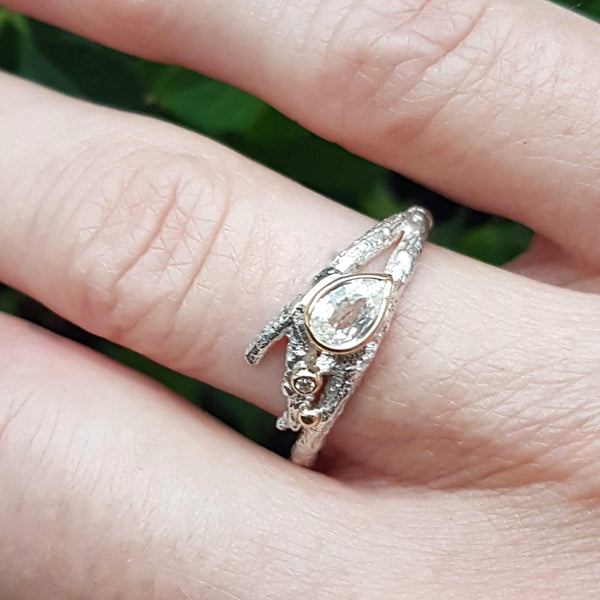 White Sapphire Elvish Twig Ring-Pear Shape Ring-Silver and 18ct Gold, Diamond