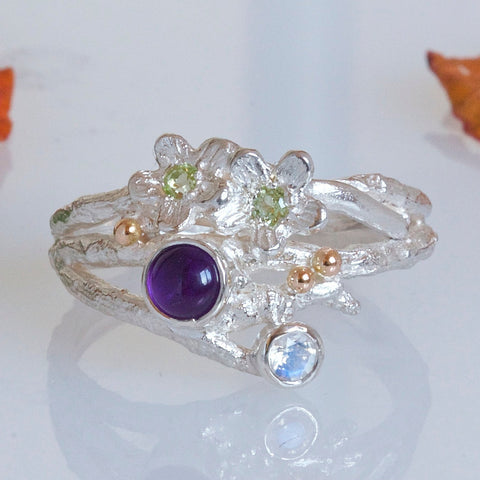 Enchanted Wood Silver and Gemstone Cluster Ring-Elvish Flower Twig Ring-Wide Silver Ring