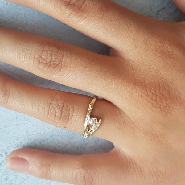 Gold and Diamond Twig Engagement Ring Set-yellow gold wedding ring-elvish rings