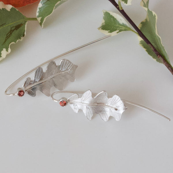 Silver Oak Leaf and Red Garnet Earrings-Oak Leaf Woodland Earrings-Elvish Earrings