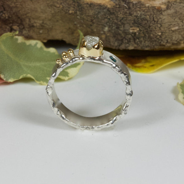 Ocean Ring-Rough diamond ring-Raw Diamond-Blue Diamond- Silver and 18ct gold-rough diamond wedding ring-Alternative Engagement Ring