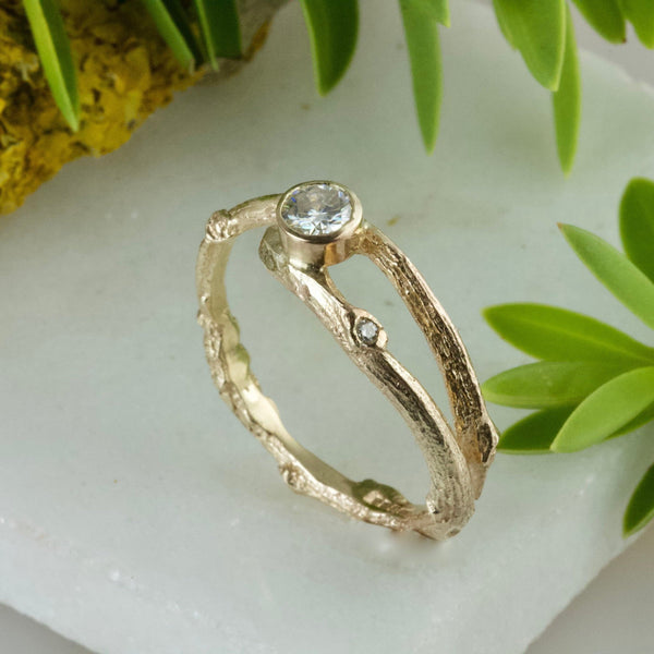 Moissanite Gold Woodland Twig Engagement Ring-Moissanite Elvish Ring-Nature Engagement Ring