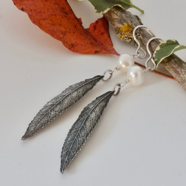 Long Leaf Silver Woodland Earrings