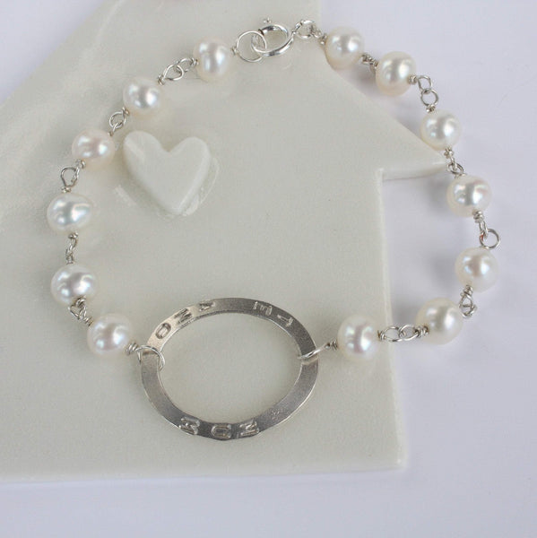 Personalised Pearl and Silver Bracelet-Handmade Bracelet-Mothers Day Gift-Bridal Jewellery-Wedding Gift