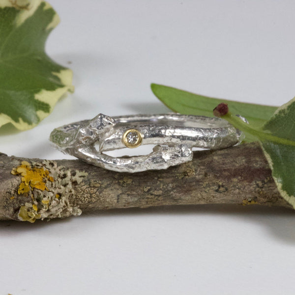 Diamond Twig Elvish Ring-Rustic Silver Wedding Ring-Diamond Wedding Ring-April Birthstone Ring
