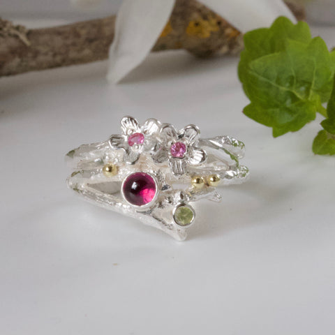 Elven Ring, Pink Woodland Twig Ring