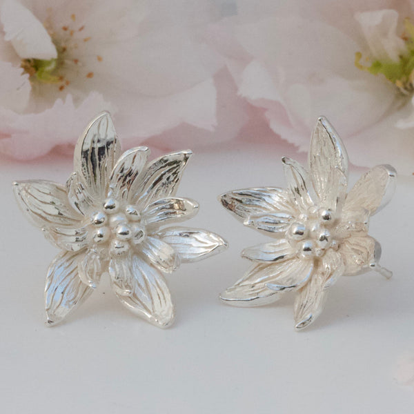 Lotus Flower Earrings-silver flower earrings-large flower studs-pretty earrings-botanical earrings-bridal jewellery