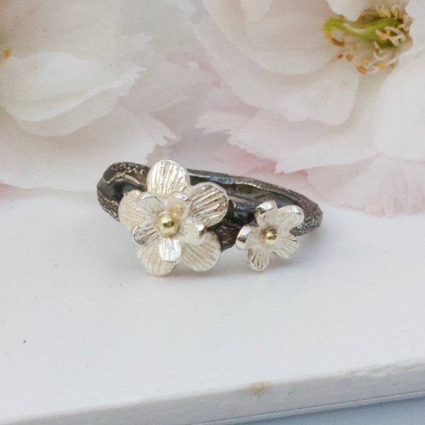 Cherry Blossom Ring. Mixed Metal Silver and Gold. Nature Jewellery