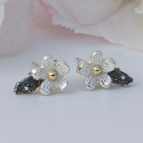 Tiny flower earrings-Cherry Blossom Earrings-Silver and 18ct Gold