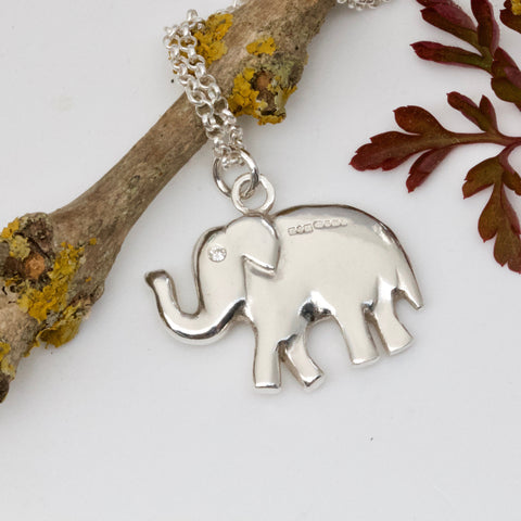 Lucky Silver Elephant Necklace, Trunk Up