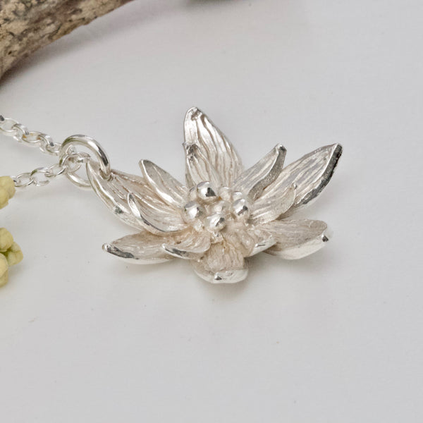Lotus Flower Necklace, Sterling Silver, Yoga Jewellery