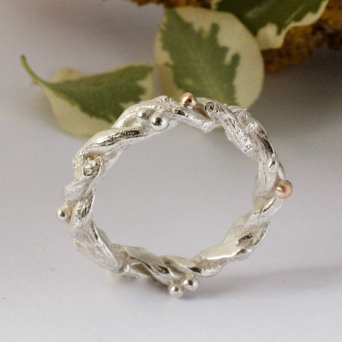 entwined organic twig branch wedding ring