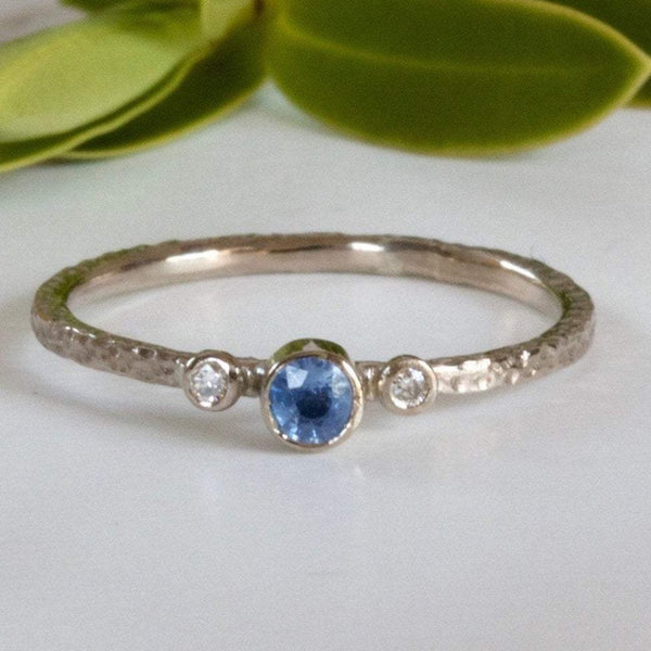Dainty Diamond and Sapphire 18ct White Gold Trilogy Engagement Ring