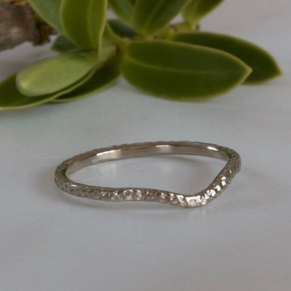 minimalist white gold wedding ring