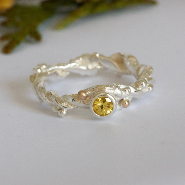 yellow sapphire entwined twig engagement ring