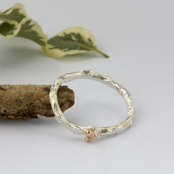 Silver and Gold Twig and Berry Shaped Wedding Ring-Rustic Wedding Ring