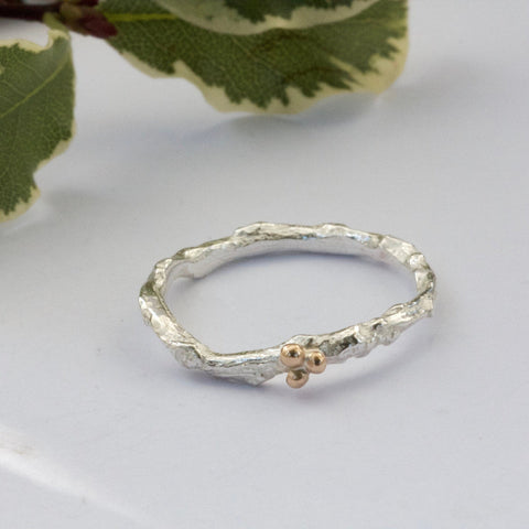 delicate organic silver and gold twig ring