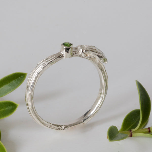 Silver Bud Ring-Organic Diopside Gemstone Twig Ring