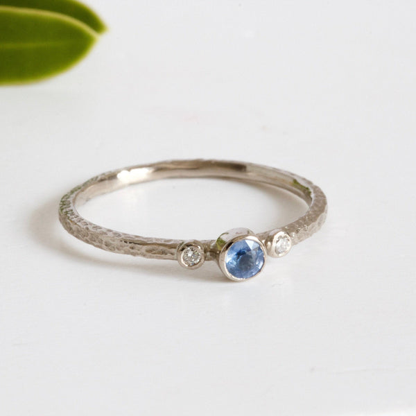 Dainty Sapphire and Diamond Engagement Ring