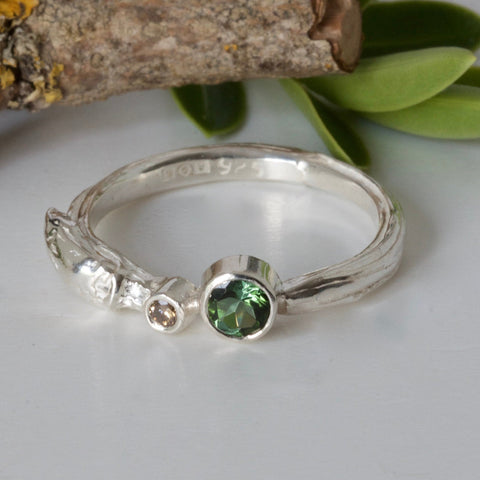 green tourmaline nature ring