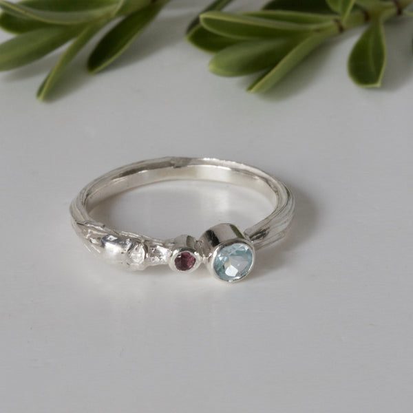 Blue Topaz Silver Twig Ring, Stacking Ring, Organic Willow Ring