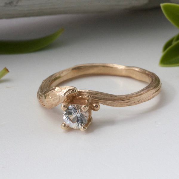 gold willow twig ring with white sapphire
