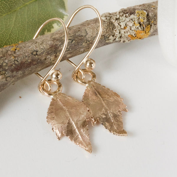 Leaf Earrings_9ct Gold Earrings_Woodland Leaf Earrings